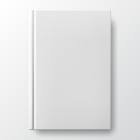 Realistic white book with a blank cover. Mock up of rotated book. Vertical closed book mockup isolated on white background. White blank cover. Book blank cover isolated mockup