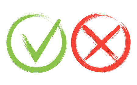 Tick and Cross sign elements. Buttons for vote, election choice, check marks, approval signs design. Red X and green OK symbol icons. Check list marks, choice options, test, quiz or survey signs