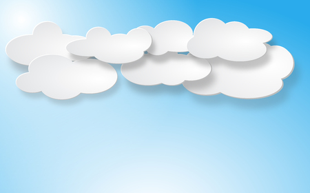 Clouds set isolated on blue background. Collection of clouds for web site, poster, placard and wallpaper. Clouds vector illustration. Vector illustration of different white paper clouds