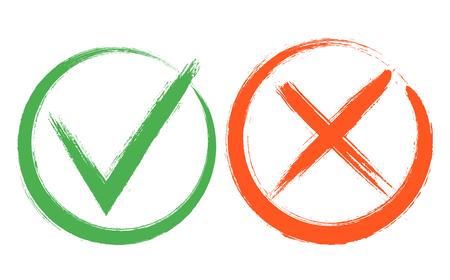 Éléments de signe de coche et de croix. Boutons de vote, choix électoral, coches, conception de signes d'approbation. Icônes de symbole X rouge et vert OK. Vérifiez les marques de liste, les options de choix, les signes de test, de quiz ou d'enquête