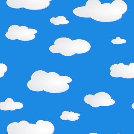 light blue sky white clouds pattern seamless. Blue sky with clouds, vector seamless background. Clouds set isolated on blue background.