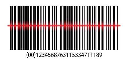 Icona del prezzo dell'etichetta con codice a barre realistico. Codice a barre con scansione laser. Simbolo di dati di vendita di codice a barre realistico. Prezzo identificazione supermercato con scansione laser Vettoriali