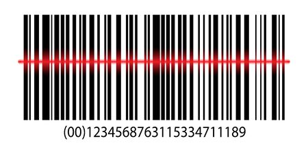 Realistic barcode label price icon. Barcode with laser scanning. Realistic bar code sale data symbol. Supermarket identification price with laser scanning Vektorové ilustrace
