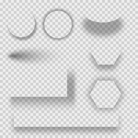 Set of transparent shadow with soft edges isolated. Set of round and square shadow. realistic shadows set for advertising banner templates.  イラスト・ベクター素材