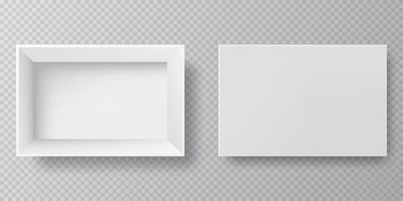 Top view white box realistic 3D cardboard with open cap. Blank packaging boxes - open and closed mockup, isolated on  transparent background. White blank cardboard package boxes mockup.
