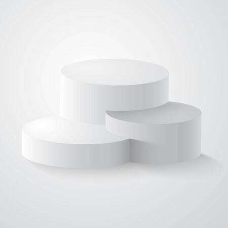 Podio, pedestal o plataforma redonda blanca. Los ganadores ronda el podio, pedestal o escena del stand de pilar redondo 3D, primer, segundo y tercer lugar Pedestal redondo 3d aislado en graybackground.