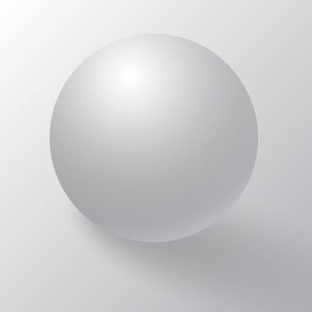 Realistic detailed 3d blank of white round sphere or 3d ball. White round sphere with shadows, half-shadows and reflex. White sphere, ball or orb with dropped shadow on white background.  イラスト・ベクター素材