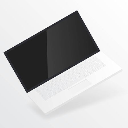 White open laptop with blank screen isolated on white background. Computer notebook with empty screen. Laptop mockup isolated on white background. Empty screen laptop notebook for inserting any UI