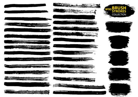 Vector large set different grunge brush strokes. Large set different grunge brush strokes. Dirty artistic design elements isolated on white background. Black ink vector brush strokes  イラスト・ベクター素材