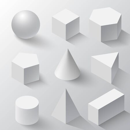 Realistic Set of basic 3d shapes. White cube, cylinder, sphere and cone on a white background. Realistic white geometric shapes set with shadows, half-shadows, reflex. Isometric white geometric shapes  イラスト・ベクター素材