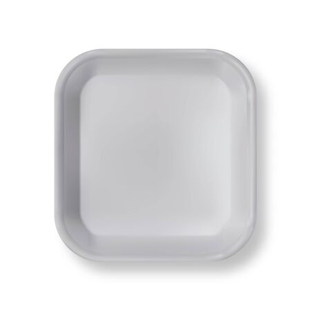 White empty plastic container for food. Layout of food plastic container for meat, fish and vegetables. White fast food fox container packaging. Disposable plastic box for package design top view  イラスト・ベクター素材