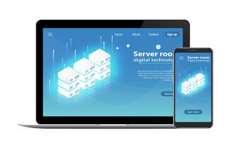Website Template Landing page Concept of server hosting.  Data transmission technology and data protection. Illustration of network telecommunication server. Server room icon, computer technologies