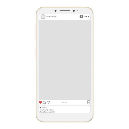 Social page profile web interface. Social network interface frame with flat icon. Social network photo frame on smartphone. Post frame vector in smartphone. Decorative template framework on smartphone