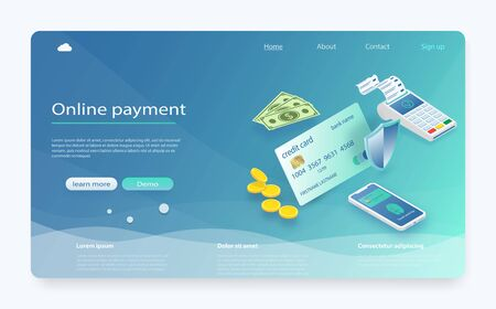 Isometric payment online concept. Smartphone with mobile interface payment system, money. Online payments, protection money transfer, online bank. Finance data protection, phone with credit card.  イラスト・ベクター素材