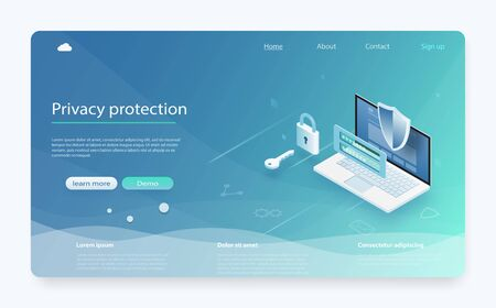 Online payment protection system concept with laptop. Banner with protect data and confidentiality. Mobile data security isometric. Security data protection concept. Online server protection system.