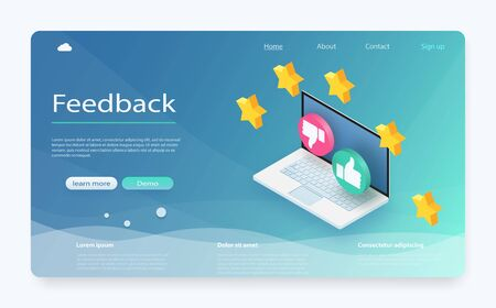 Customer review concept. Feedback, reputation and quality concept. Feedback or rating concept banner. Laptop with reviews stars rate, feedback evaluation. Rating system isometric concept. Illustration