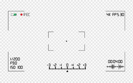 Superposition du viseur de la caméra vidéo. Grille de viseur de caméra photo ou vidéo avec de nombreux paramètres de prise de vue à l'écran. Enregistrez la photographie d'instantané vidéo. Modèle de viseur de caméra vidéo. Écran d'enregistrement vidéo. Vecteurs