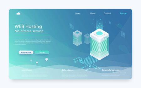 Internet datacenter connection concept. Hosting server isometric, administrator of web hosting. Computer technology, network and database. Computer technology, network and database, internet center.  イラスト・ベクター素材