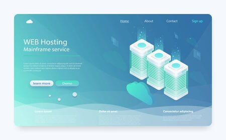 Concept cloud storage, data transfer. Online computing technology. Data center, concept of cloud storage. Online Computing Storage 3D isometry. Cloud data storage 3d illustration