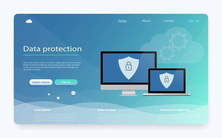 Concept is data security. Data Protection, privacy, internet security. Safe confidential information. Shield on computer desktop or laptop protect confidential information. Personal data protection.
