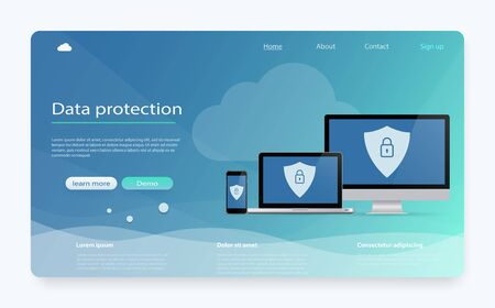 Concept is data security. Data Protection, privacy, internet security. Safe confidential information. Shield on computer desktop or laptop protect confidential information. Personal data protection. Stock fotó - 127872983