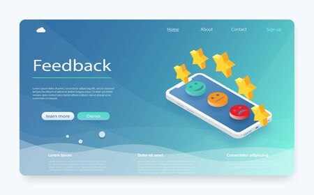 Customer review concept. Feedback, reputation and quality concept. Feedback or rating concept banner. Smartphone with reviews stars rate, feedback evaluation. Rating system isometric concept.