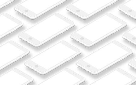 Realistic white smartphone. Mobile phone mockup with blank screen isolated on white background. White isometric realistic smartphones with blank screens. Empty screen for inserting any UI. Stock fotó - 127872985