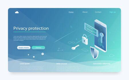 Isometrische Vektorillustration der mobilen Datensicherheit. Banner mit Datenschutz und Vertraulichkeit. Mobile Datensicherheit isometrisch. Sicherheitsdatenschutzkonzept. Online-Server-Schutzsystem.