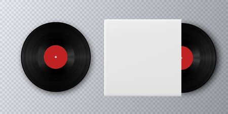 Realistic Vinyl Record with Cover Mockup. Gramophone vinyl record with label. Black vinyl record disk in paper case on gray background, LP music cover