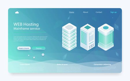 Internet datacenter connection concept. Hosting server isometric, administrator of web hosting. Computer technology, network and database. Computer technology, network and database, internet center. Stock fotó - 127872996