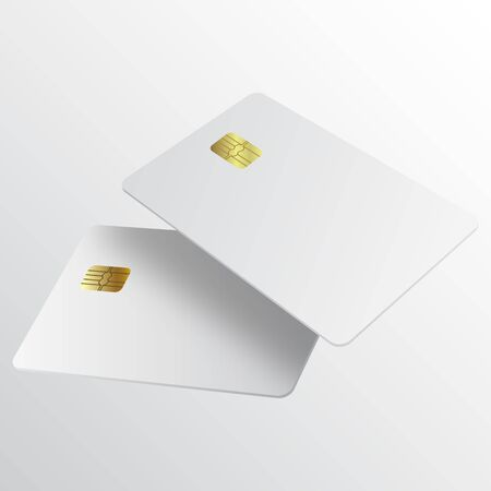 Realistic white credit card. Template white credit card for your design. Credit card realistic mockup. Business and finance concept.