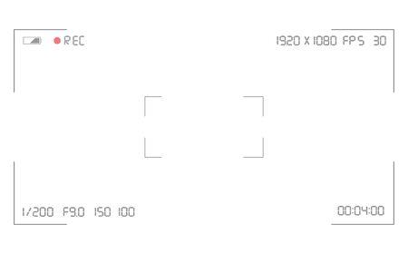 Superposition du viseur de la caméra vidéo. Grille de viseur de caméra photo ou vidéo avec de nombreux paramètres de prise de vue à l'écran. Enregistrez la photographie d'instantané vidéo. Modèle de viseur de caméra vidéo. Écran d'enregistrement vidéo.