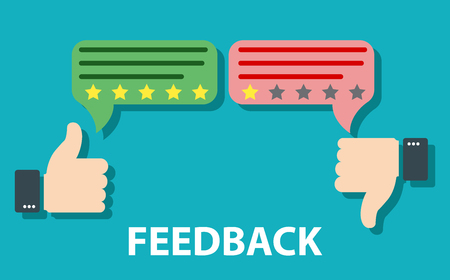 Feedback concept design. Agree or like, Disagree or dislike feedback concept. Customer review, Usability Evaluation, Rating system. Customer excellent review. Message bubble with thumbs up