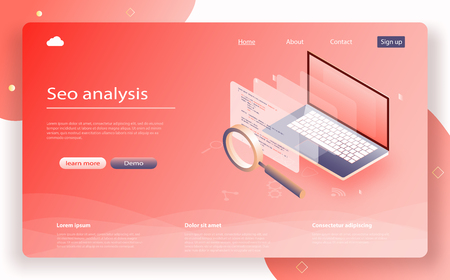 Data analytics isometric. SEO Analysis for banner and website. Search Data monitoring, Marketing data isometric design. Landing page template of Seo analysis. Data analytics concept banner