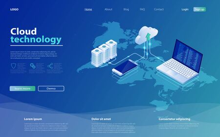 Concepts Cloud storage. Online computing technology. 3d servers and data center connection network. Design landing page. Cloud computing technology users network configuration. Internet data services.
