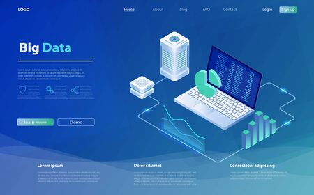 Data analysis concept, modern flat design isometric. Data center query, search engine optimization. Concept of business big data analysis, global analytics, financial research report