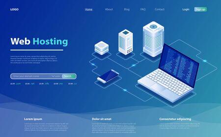 Concept of server hosting. Big data flow processing concept, cloud database. Hosting server isometric vector illustration. Isometric design concept of landing page suggesting  servers and hosting.  イラスト・ベクター素材