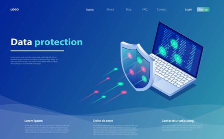 Data protection concept. Network data security. Safety, confidential data protection, concept with character saving code. Internet security isometric concept. Cyber security technology mechanism.