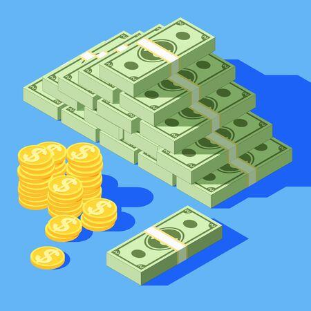 Big stacked pile of cash. Hundreds of dollars. Various money bills dollar cash paper bank notes and gold coins. Cartoon money bills. Bundle of money and coins in a flat style. Dollars in a big bundle.