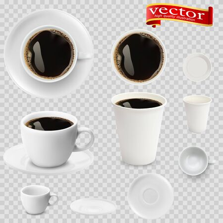 3d realistic espresso coffee in white cups view from the top and side. Espresso coffee in white paper Cups. A Cup of espresso coffee and saucer, top view, realistic vector Stock fotó - 127873005