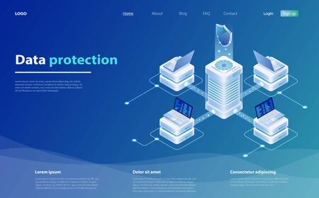 Data protection vector illustration with laptop and shield. Safety and confidential data protection. Online serves protection system concept. Network data security isometric vector illustration.  イラスト・ベクター素材