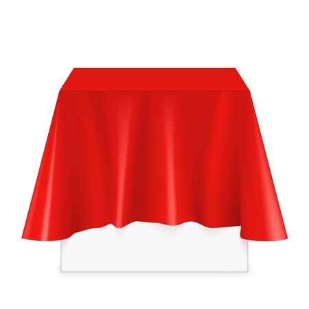 Vector realistic square podium covered with red silk cloth. Empty podium, stand with tablecloth. Square podium for displaying products. Podium hidden under satin fabric with drapery and folds. Stock fotó - 127873010