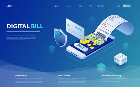 Digital bill and online bank, smartphone with check tape. Online bill payment. Smartphone, paper receipt check, stack of coins. Digital bill for mobile internet banking concept. Online check payment.  イラスト・ベクター素材