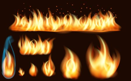 Fire flame realistic set of burning bonfires isolated on dark background. Set of realistic fire flames of various size with sparks. Collection of realistic fire flames