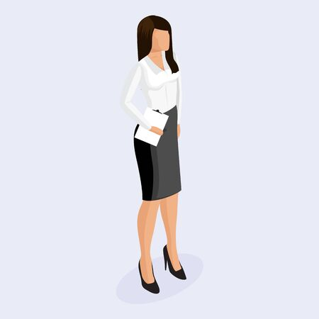 People Isometric. Business woman in corporate clothing, stylish clothing. Trendy isometric woman. 3D Isometric woman in corporate clothing with tablet on a light background. Illusztráció