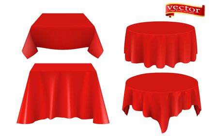 Red silk cloth covered table realistic set. Red silk cloth covered objects realistic set tablecloth. Collection of objects hidden under cloth. Red table cloth isolated on white background.