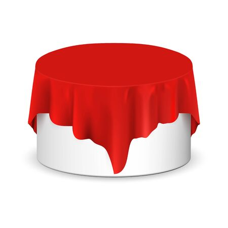 Vector realistic round podium covered with red silk cloth. Empty podium, stand with tablecloth. Round podium for displaying products. Podium hidden under satin fabric with drapery and folds.