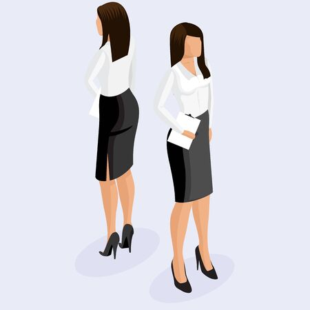 Fashion isometric woman 3D, front view back view. Business woman in corporate clothing, stylish clothing. Trendy isometric woman. Isometric woman in corporate clothing with tablet on light background