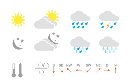 Modern weather icons set isolated on white background. Weather icons sun and clouds in sky, rain with snow, thunder and lightning. Set of weather icons for mobile app Illusztráció