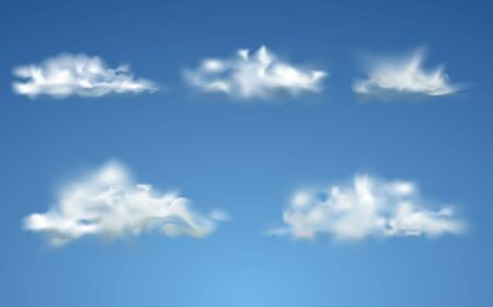 Set of Clouds on blue sky. Transparent clouds spring sunny weather. Set of realistic isolated cloud on the blue background. Stock fotó - 127873026